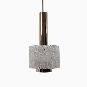 Mid-Century Textured Glass and Brass Pendant by J.T. Kalmar, 1950s