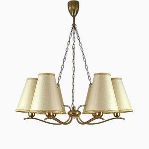 Lámpara de araña Mid-Century de latón atribuida a JT Kalmar, Austria, años 50