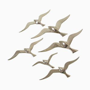 Mid-Century Brass Bird Sea Gull Wall Decor Sculptures, Austria, 1950s, Set of 6