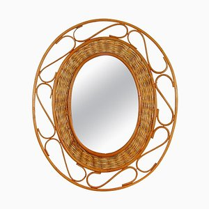 Mid-Century French Oval Rattan and Wicker Wall Mirror, 1950s