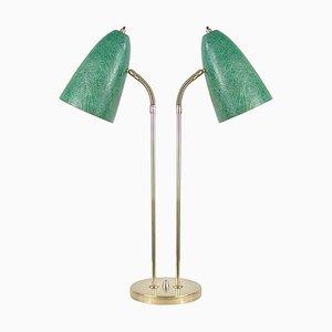 Grüne Schwedische Mid-Century Schreibtischlampe mit Schwanenhals & Glasfaser, 1950er
