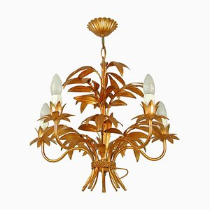 Mid-Century 5-Light Gilt Palm Leaf Chandelier by Hans Kögl, 1970s
