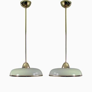 Art Deco German Bauhaus Cream Opaline Glass and Brass Pendants, Set of 2