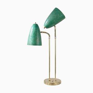 Mid-Century Swedish Double Gooseneck Green Fiberglass Desk Lamp, 1950s
