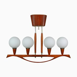 Mid-Century Swedish Modern Teak and Satin Glass Chandelier, 1960s