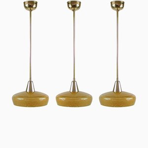 French Art Deco Amber Glass and Brass Pendants, 1930s, Set of 3