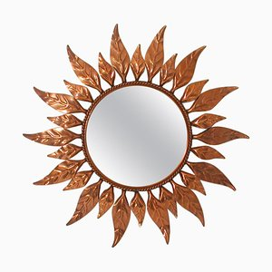 Mid-Century French Copper Sunburst Wall Mirror, 1950s