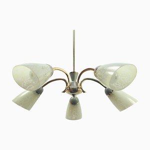 Deutscher Mid-Century Messing & Glas Sputnik 5-Leuchten Kronleuchter, 1950er