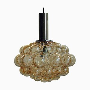 Mid-Century Bubble Amber and Chrome Glass Pendant by Helena Tynell for Limburg 1960s