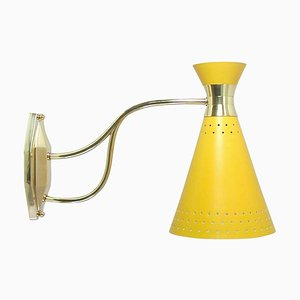 Mid-Century French Yellow Diabolo Wall Light Sconce, Pierre Guariche Era, 1950s