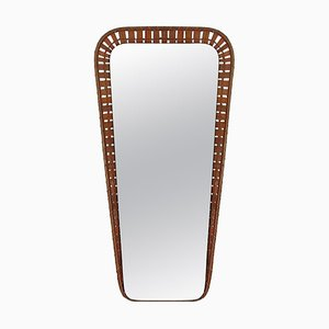 Mid-Century Swedish Conical Rattan Wall Mirror, 1950s