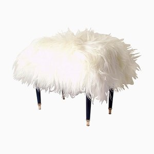 Mid-Century Italian White Long Hair Iceland Sheep Bench Stool, 1950s