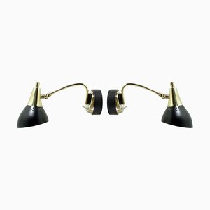 Mid-Century Italian Black and Brass Sputnik Sconces Wall Lights, 1950s, Set of 2