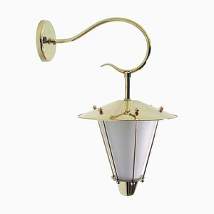 Mid-Century French Brass and Opaline Lantern Sconce or Wall Light, 1950s