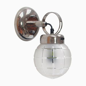 German Art Deco Bauhaus Chrome and Glass Wall Light Sconce, 1930s