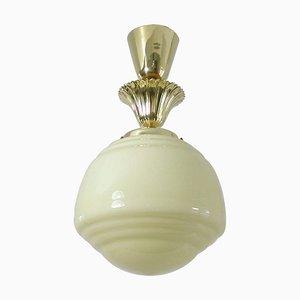 Österreichische Art Deco Bauhaus Opaline und Messing Deckenlampe, 1940er