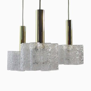 Deutscher Kaskadierender Kronleuchter aus Strukturiertem Glas & Messing von Doria