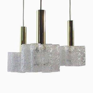 Lámpara de araña alemana en cascada de latón y vidrio texturizado