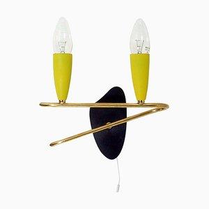 Deutsche Mid-Century Wandlampe aus gelbem Messing & Schwarzem Messing, 1950er