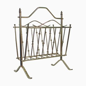 French Brass Magazine News Rack in the Style of Maison Charles, 1950s