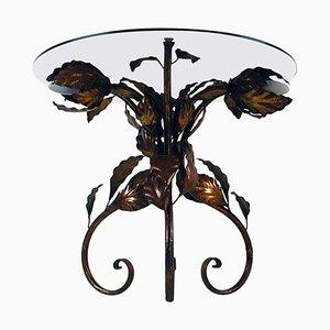 Mesa auxiliar o de centro italiana de metal bronceado y vidrio teñido iluminado, años 50