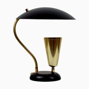 Mid-Century Italian Brass and Metal Double Shade Table Lamp, 1950s