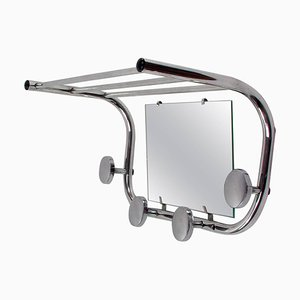 Mid-Century French Industrial Aluminium Coat and Hat Rack with Mirror, 1950s
