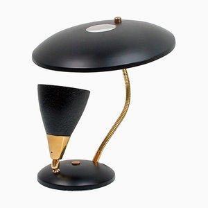 Lampe de Bureau à Col de Cygne Réfléchissante Mid-Century Noire, France, 1950s