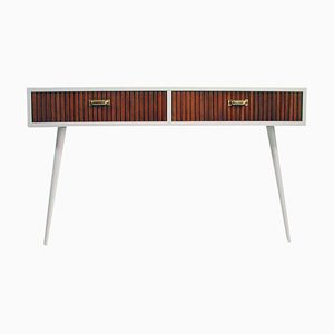 Mid-Century Italian Oak & White Lacquered Chest of Drawers or Console Table, 1950s