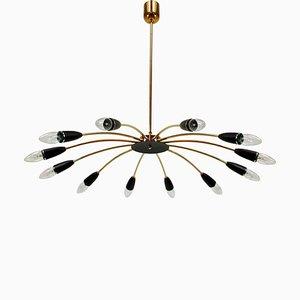 Lámpara de araña Sputnik italiana Mid-Century de 12 luces con el estilo de Stilnovo