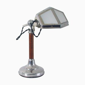French Art Deco Pirouette Chrome, Wood & Glass Table Lamp, 1920s
