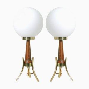 Lampes de Bureau Mid-Century Modernes Scandinaves en Teck, Laiton et Verre Opalin, Set de 2