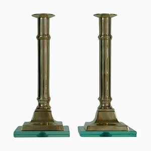 Italian Brass and Glass Candlesticks in the Style of Fontana Arte, 1950s, Set of 2