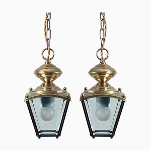 French Art Deco Brass and Bevelled Glass Lantern Pendants, 1930s, Set of 2