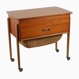Scandinavian Teak Sewing Table Cabinet, 1950s