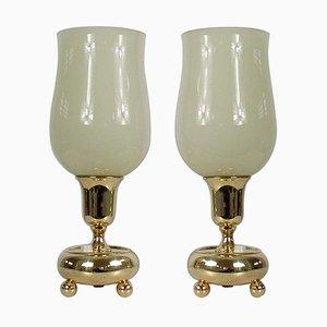 Deutsche Bauhaus Tischlampen aus Messing & Opalglas, 12er Set