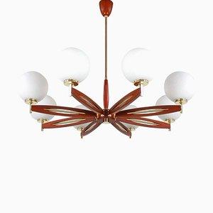 Lámpara de araña danesa Mid-Century Modern de teca y vidrio satinado, años 60