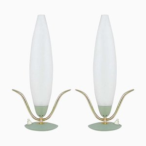 Mid-Century Italian Sputnik Mint and Satinated Glass Table Lamps, 1950s, Set of 2