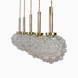 Mid-Century German Clear Bubble and Brass Pendant, 1960s