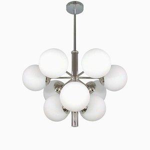 Lámpara de araña Sputnik Mid-Century era espacial cuadrada de metal cromado opalina Sputnik de 9 luces, años 60