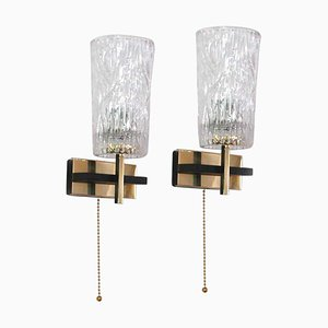 Mid-Century French Brass & Textured Glass Sconces from Maison Arlus, 1950s, Set of 2