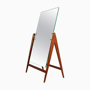 Mid-Century Teak Brass Table Vanity Mirror by Hans-Agne Jakobsson for Markaryd, 1960s