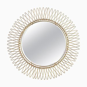 Mid-Century French Brass Sunburst Wall Mirror, 1950s