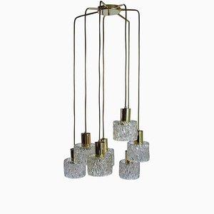 Lámpara de araña austriaca en cascada de vidrio texturizado y latón atribuida a JT Kalmar