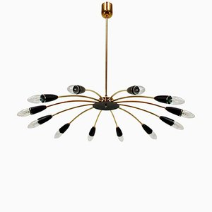 Italienischer Mid-Century Sputnik Kronleuchter mit 12 Leuchten im Stilevon Stilnovo