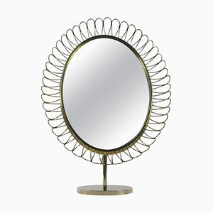 Mid-Century Oval Brass Table Mirror in the Style of Josef Frank for Svenskt Tenn, 1950s