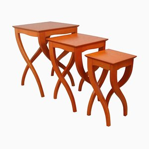 Mid-Century Italian Birds Eye Cherry Nesting Tables, Set of 3