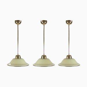 German Art Deco Bauhaus Cream Opaline Glass and Brass Pendant, 1930s