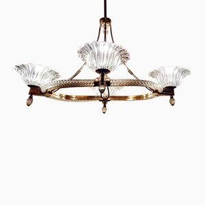 Lámpara de araña de cristal de Murano de Ercole Barovier para Barovier & Toso