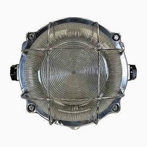 Lampada da parete da parata da esterni vintage industriale in alluminio pressofuso con paralume e paralume in vetro